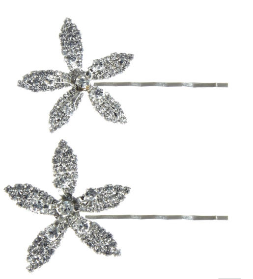 Name: PETITE CRYSTAL ORCHID BOBBY PIN SET    Description: The Petite Crystal Orchid Bobbypin Set is a set of two Swarovski crystal studded orchids that each come on their own bobby pin. This feminine, versatile set of bobby pins is a sophisticated and refined upgrade of a hair accessory necessity. -Each Swarovski crystal is prong-set by hand -All Jennifer Behr hair accessories and headbands are handmade in New York City