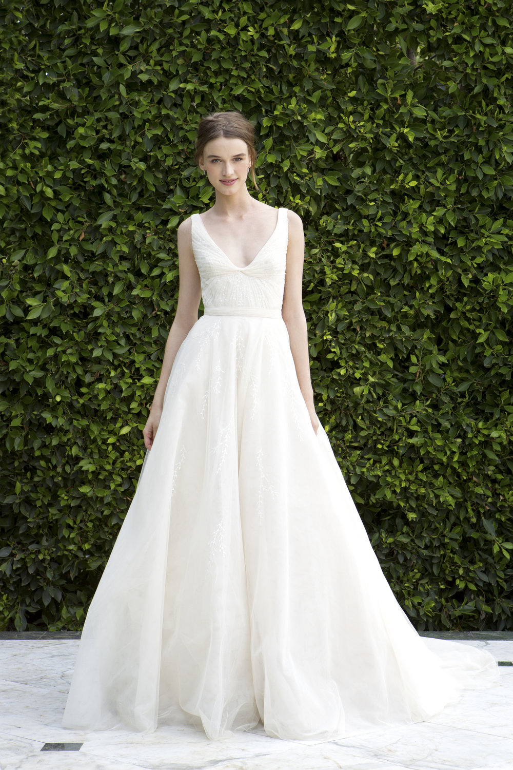 Season: Fall 2016    Gown name: BL16224    Description: A scoop neck ball gown with ruched bodice and full circular skirt.