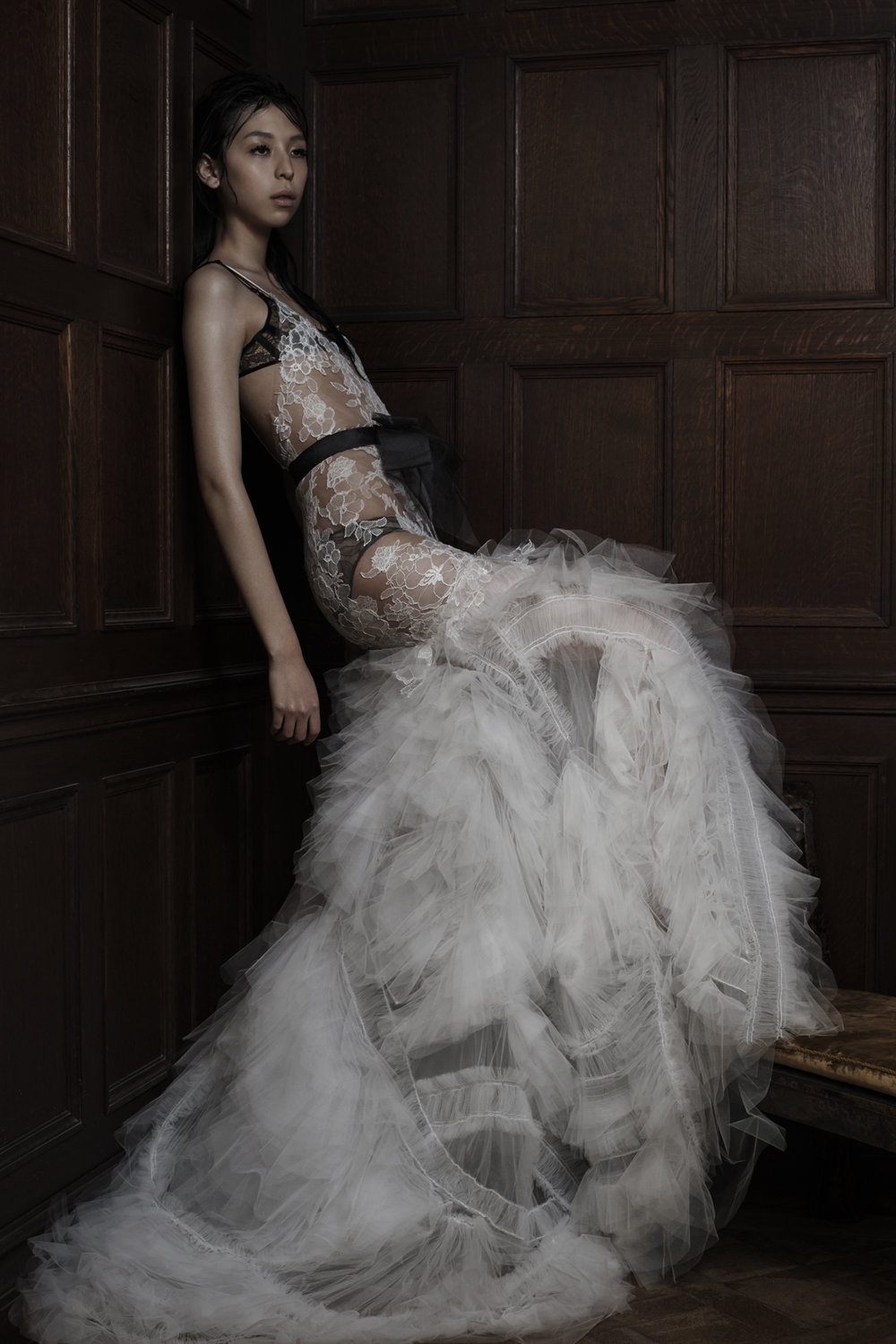 Season: Spring 2016    Gown name: Esme    Description: A light ivory V-neck hand applique Chantilly lace gown with pleated tulle mermaid skirt and plunging back accented with stretch ribbon straps.