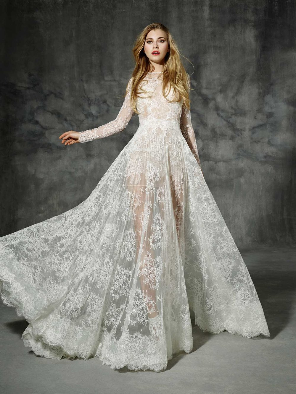 Season: 2016    Gown name: Villaroel    Description: A long-sleeve Chantilly lace gown with A-line skirt.