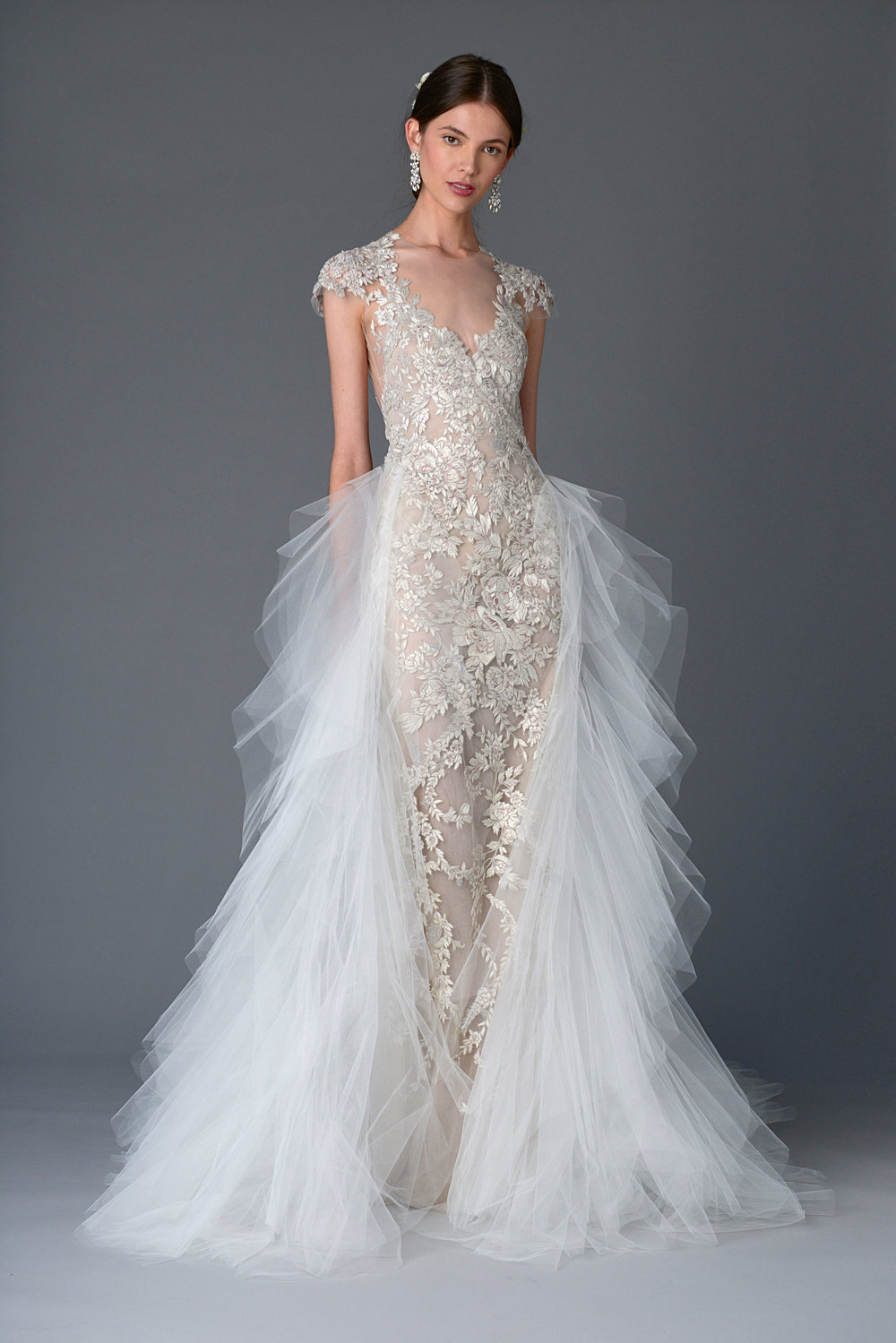 Season: Spring 2017    Gown name: Silene    Description: A fully embroidered fitted column gown with detachable cascading ruffle tulle skirt.