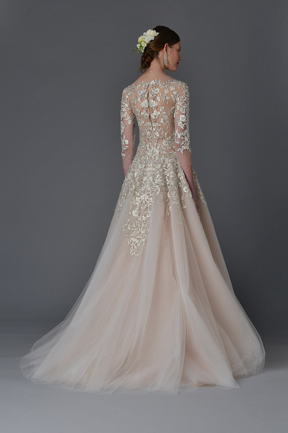 Season: Spring 2017    Gown name: Dhalia    Description: A round neck ball gown with embroidered bodice and circular tulle skirt.
