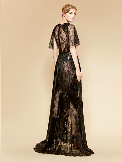 Season: 2016    Gown name: 16-69    Description: A lace gown with embroidered applique, pleated skirt and flutter sleeves.