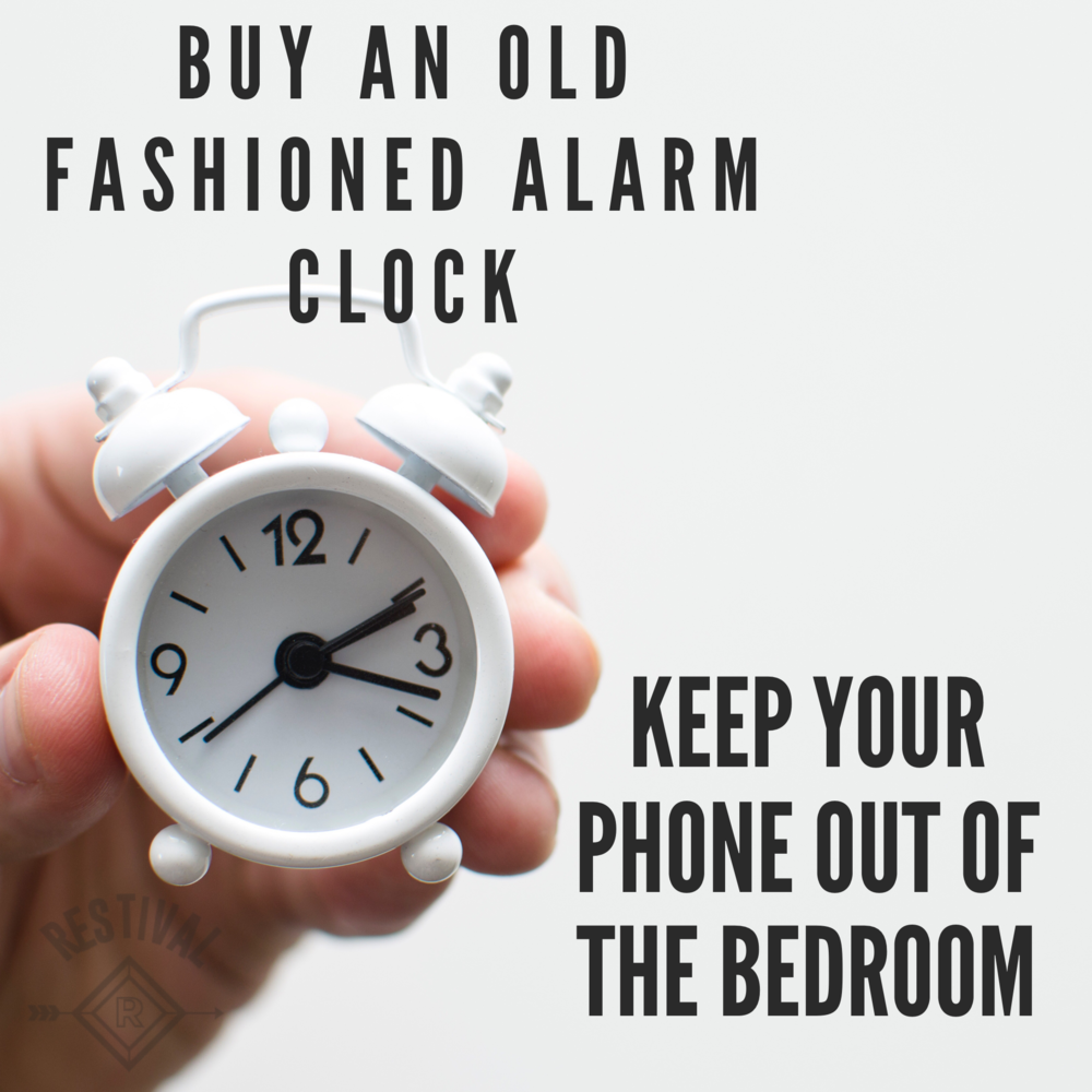 Buy an old fashioned alarm clock and keep your phone out of the bedroom. You're body and mind will naturally unwind when you make your bedroom a technology-free-zone.