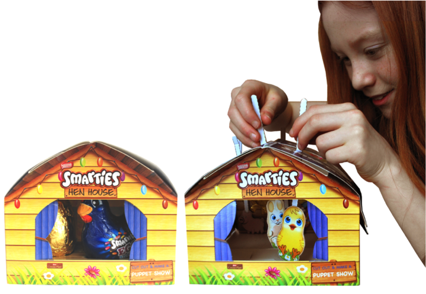 Above:  Smarties Hen House transforms into a fun, interactive puppet show.