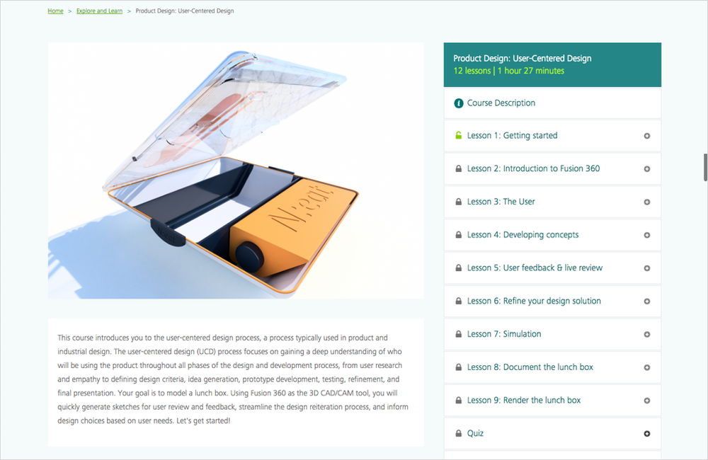 Above:  Expert online product design course for  Autodesk's Design Academy.
