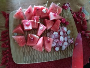 watermelon and radishes