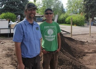 Derek Smith -- neighbor and Natures Best employee, and Patrick Long of Garden City Harvest on the big dig day.