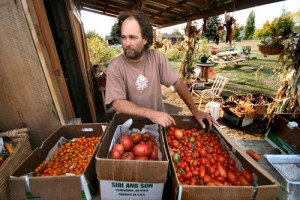 Greg and his tomatoes at a CSA pickup. Photo by Chad Harder.