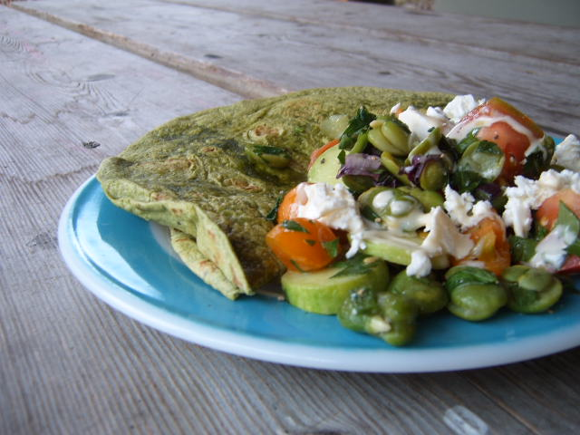 Fava Beans, Sungold Tomatoes, Feta Cheese, Parsley, Mint,  Red Onion and Herb Wrap