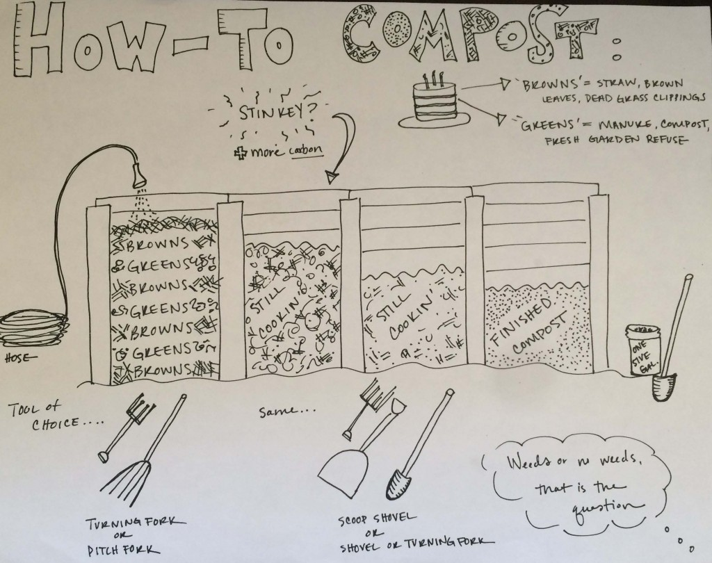 Former community garden manager Linda Sliter created this wonderful compost illustration. Thanks Linda!