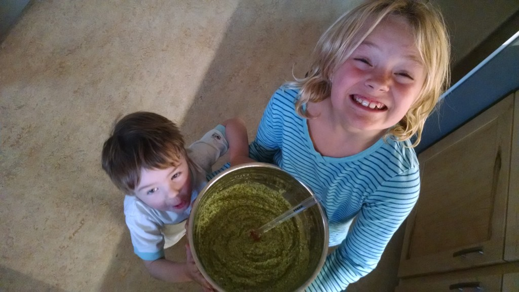 Pesto kids -- these are my two kiddos after last year's pesto making extraveganza.