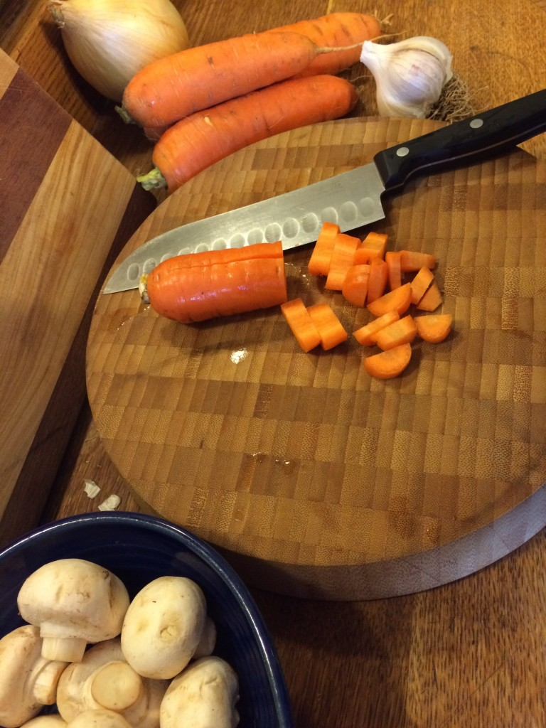 Chopping veggies