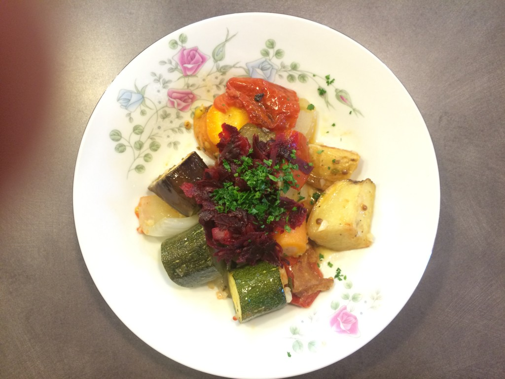 Briam Roasted Veggies topped with beet caviar
