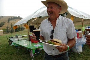 Dave enjoying a burger at the Farm Party