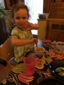 Austen eats carrot soup