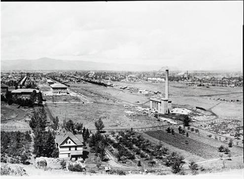 Missoula, Montana and the northern portion of The University of Montana campus from Mount Sentinel. The Power Plant, Prescott house and garden is visible at the base of Mount Sentinel, 1922. Photo courtesy of Archives and Special Collections at the University of Montana, Maureen and Mike Mansfield Library