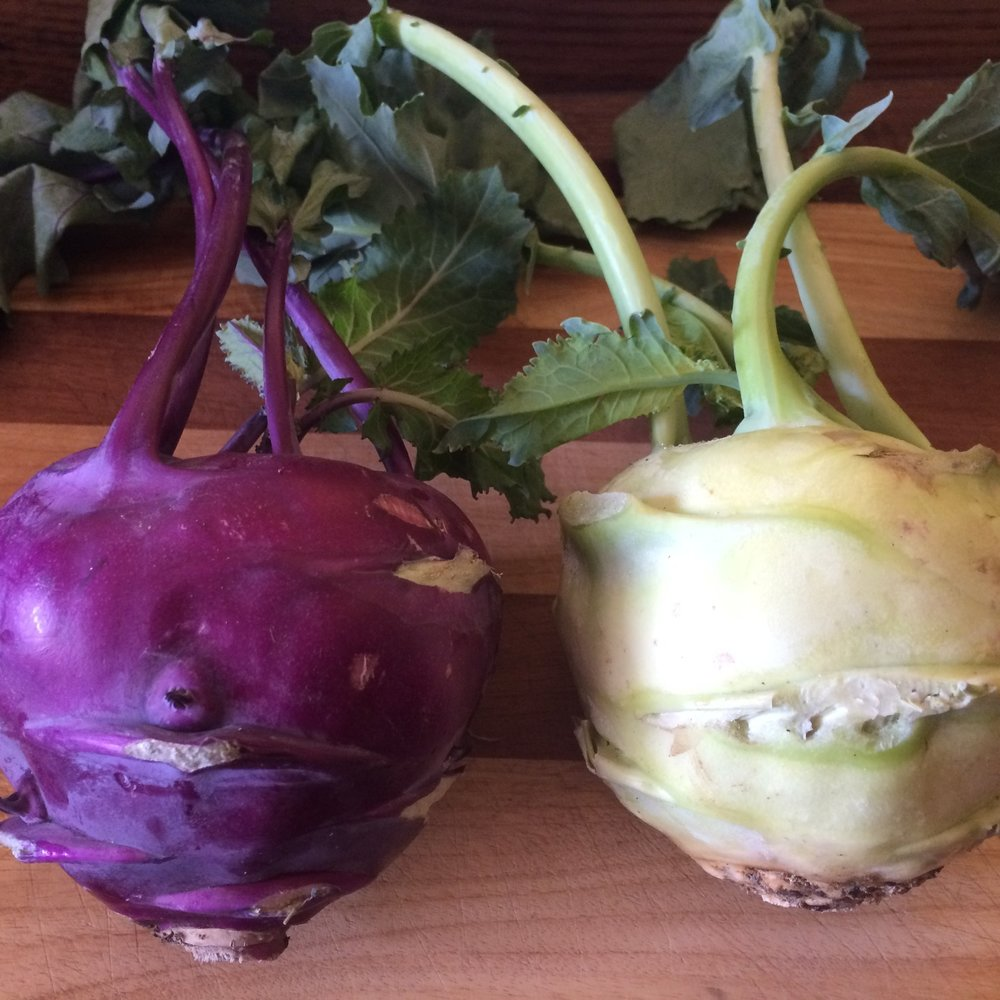 3. Is it fun to try new foods? Everyday. All summer. - To the left is kohlrabi: one of my favorite odd veggies. We'll help you learn how to incorporate this into your favorite dishes (I put it in fajitas -- delicious!) And, we'll give you tips to make sure whatever you make with kohlrabi doesn't have the texture of freshly peeled tree bark!