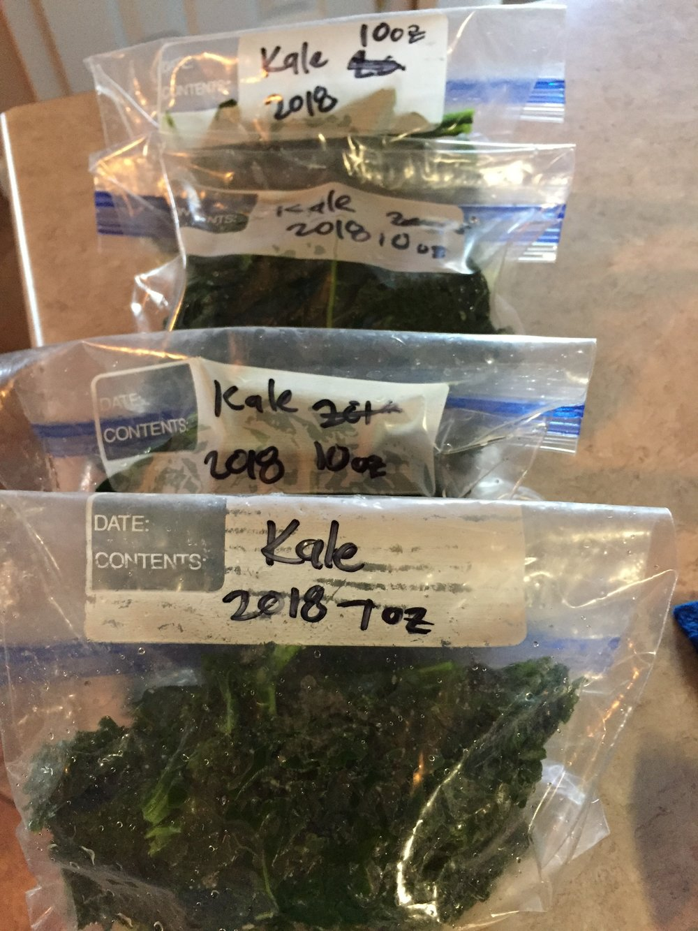 6. Place in a plastic freezer bag, label and freeze. - I find it best to separate and freeze the kale into meal-sized portions.