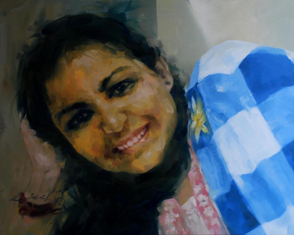Ammukutty  oil on canvas - 24x30 inches - 2009