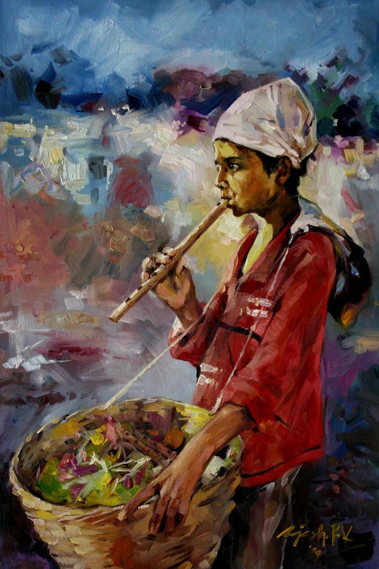 In a festival  Oil on Canvas - 36x24 inches - 2009