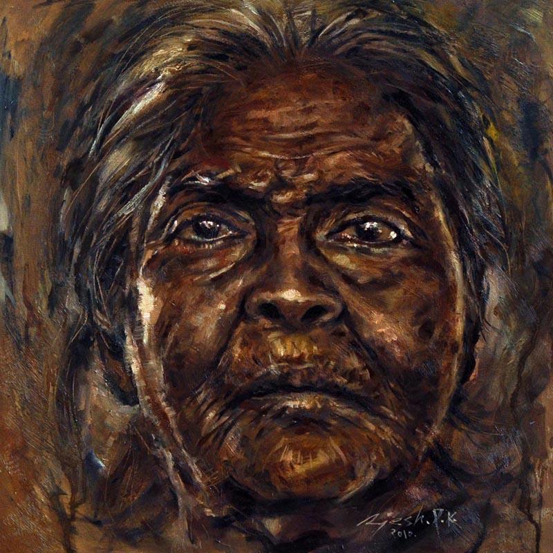 A slum dweller  Oil on Canvas - 30x30 inches - 2010