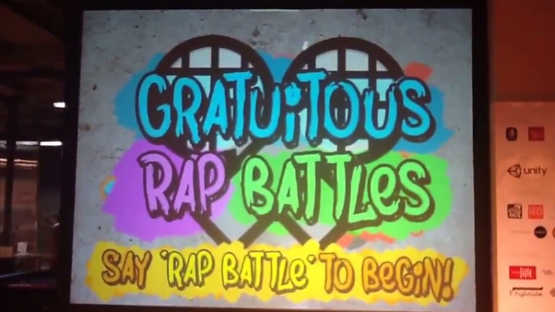 Gratuitous Rap Battle(PC, Windows with Microphone) - Designer and Artist at the Zoo Machines Game Jam (Lille, France) // 2014A rap battle game that uses Google's Speech to Text and a robot judge whose rules do not make for good raps.