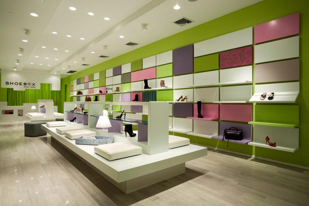 Shoebox ny shoe store retail store design for Interior design for shoes shop