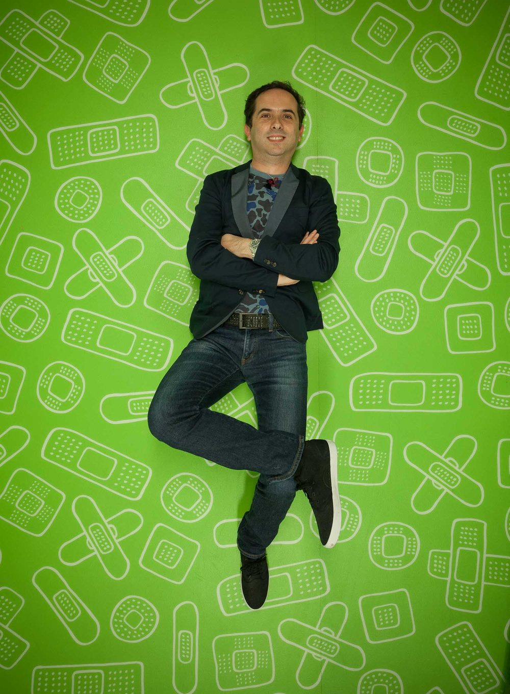 Sergio Mannino photographed on the Careland custom floor