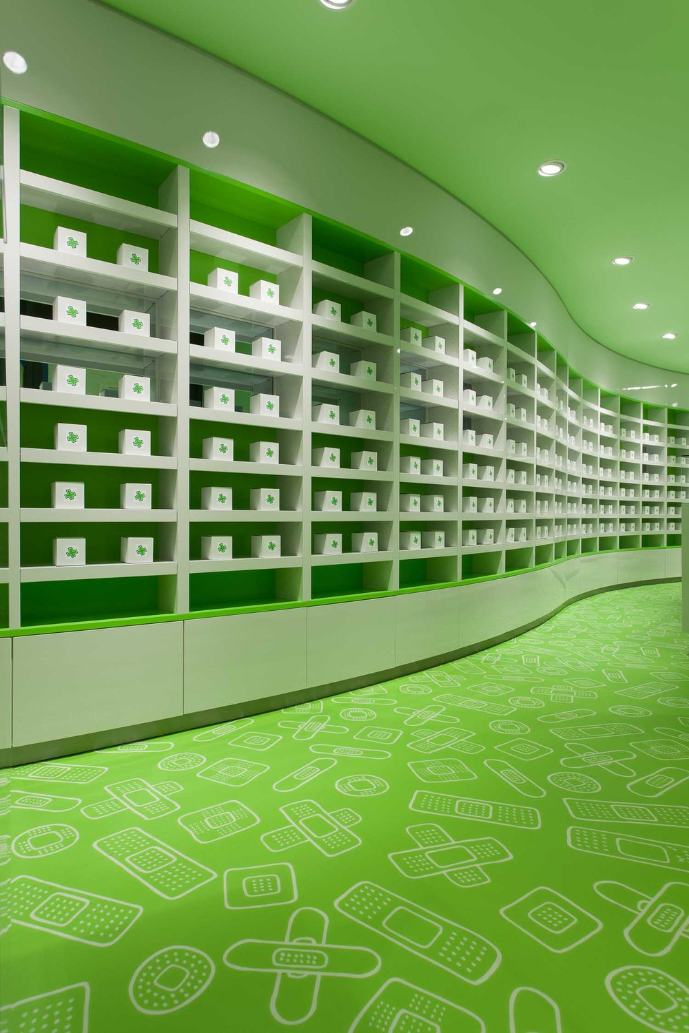 View of the interior display design for OTC and pharmacy products
