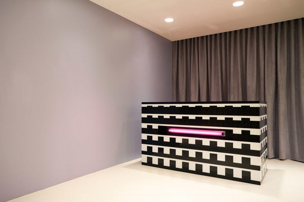 The funky reception desk of the Kensiegirl fashion brand