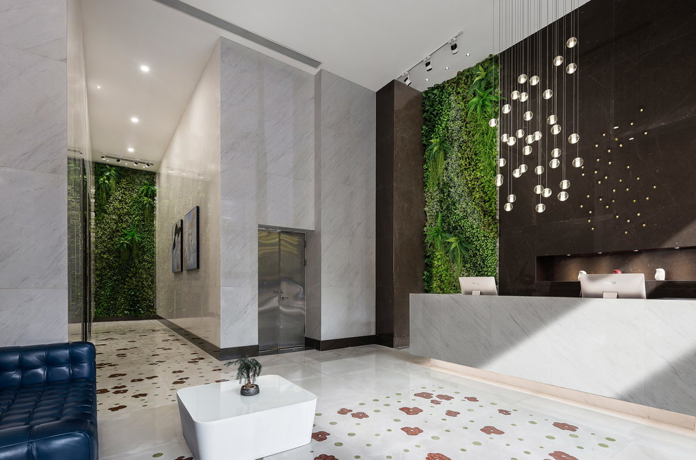Building Lobby Interior Design with Marble Floor