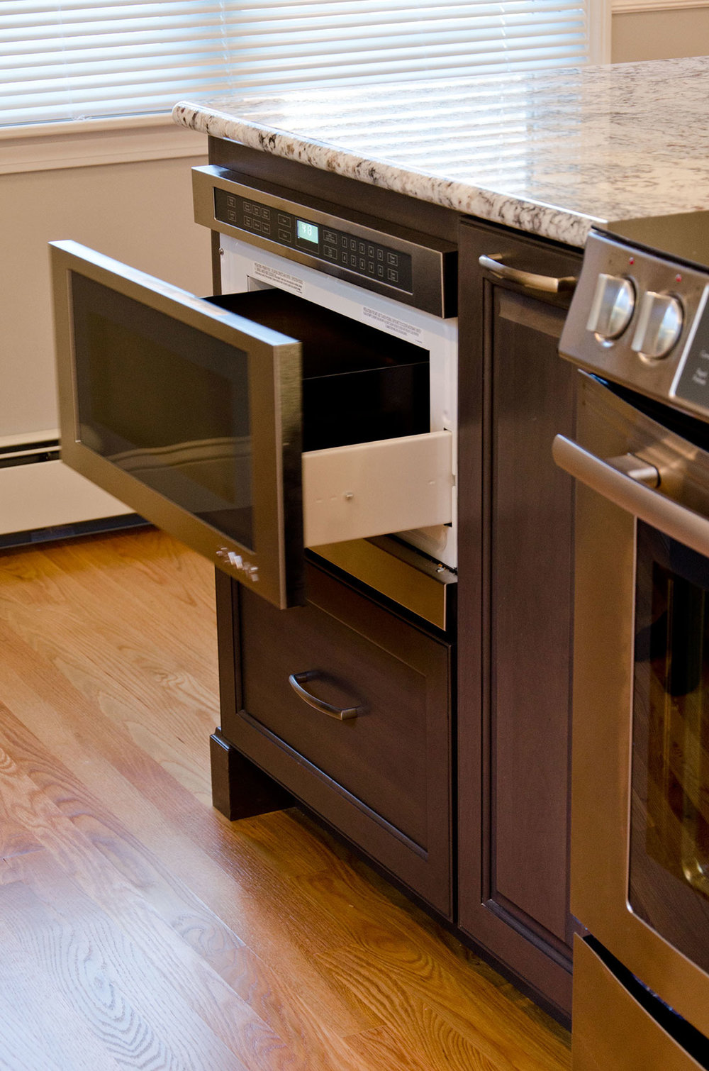 Kitchen interior design with microwave drawers