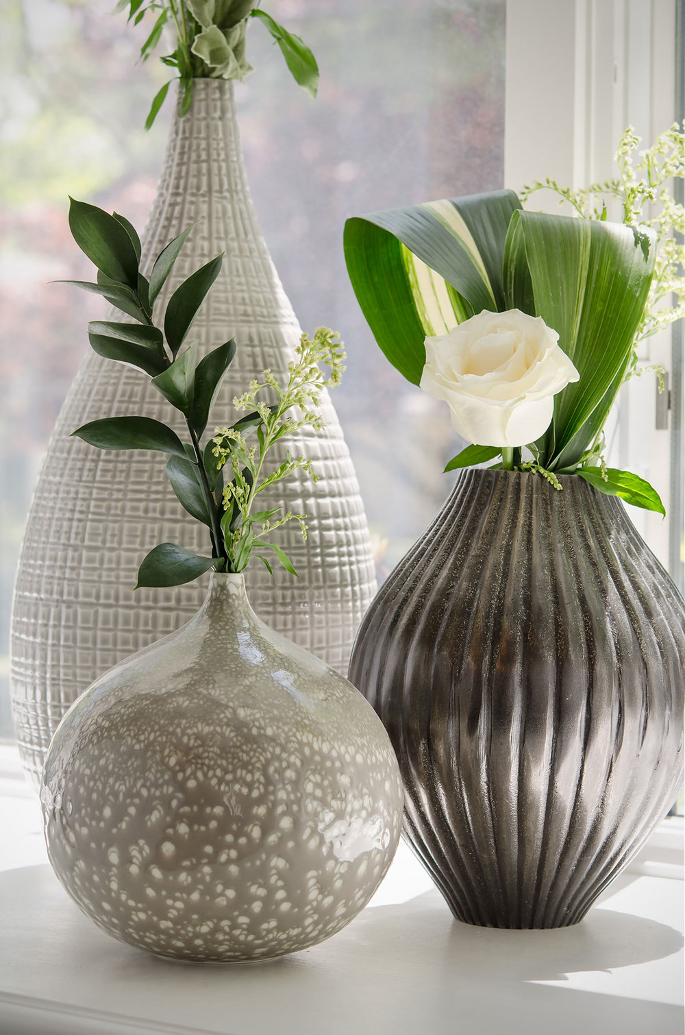 Braintree, MA interior design grouping of textured vases