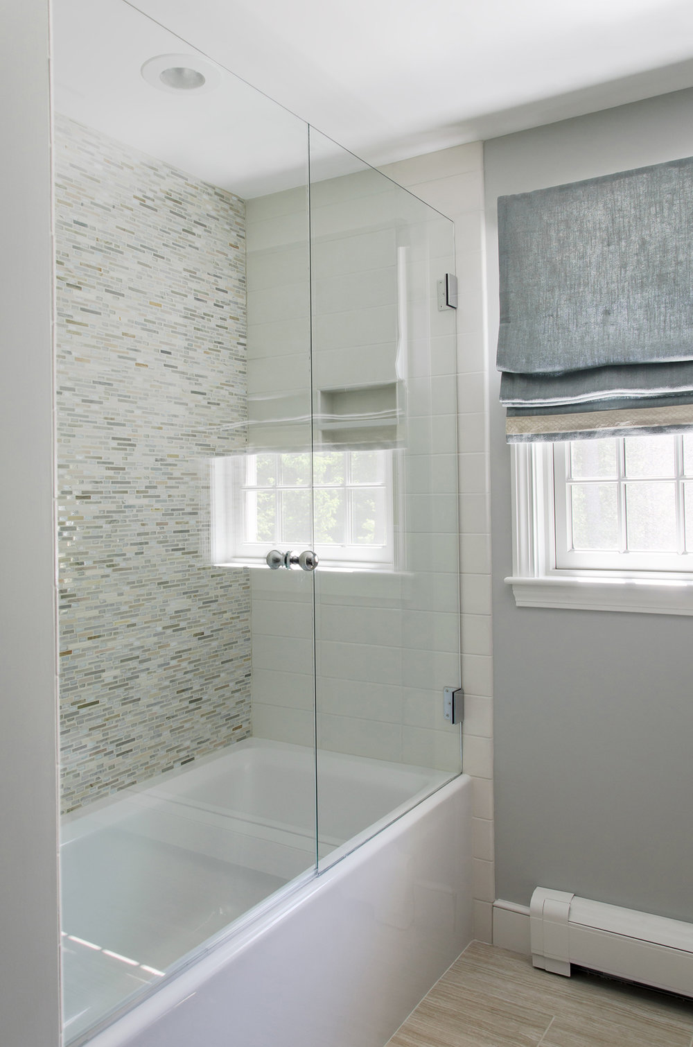 Norwell, MA bathroom shower by Susand Curtis Interirors