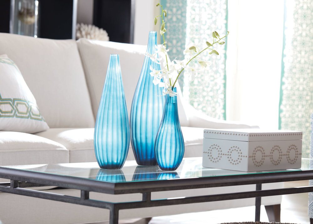 Ethan Allen: Small Teal Ribbed Vase