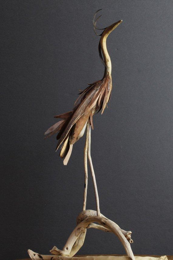 Etsy: Driftwood Art – Blue Heron Sculpture