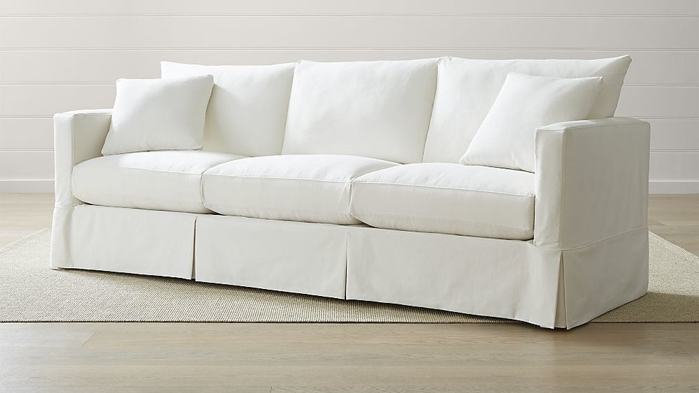 Crate and Barrel Grand Willow Slipcover Sofa