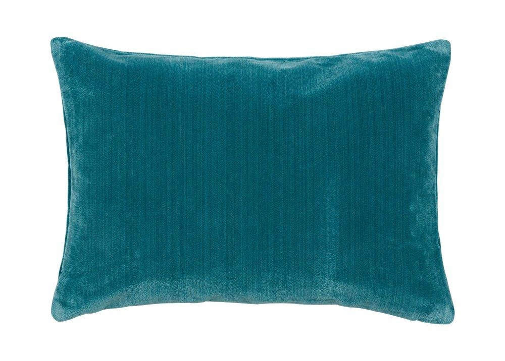Ethan Allen: Velvet Strie Lumber Pillow - Teal