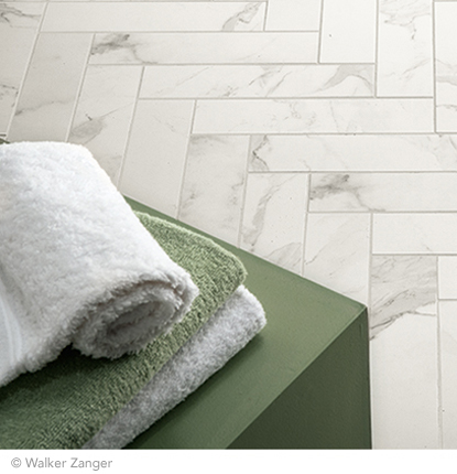 Walker Zanger - Calacata Porcelain 3x12 tile set in herringbone