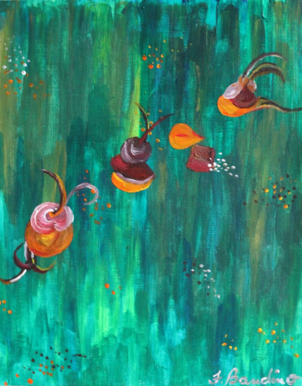 ©April 2014, Francesca Bandino,  Beet Salad . Acrylic on Canvas, 16.1x13 inches