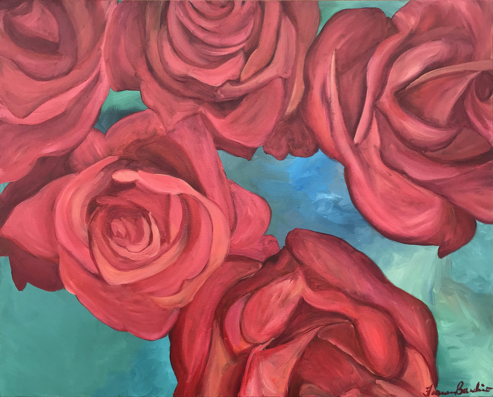 ©February2018, Francesca Bandino,  The Heads of Roses . Acrylic on Stretched Canvas, 24x30x.8 inches