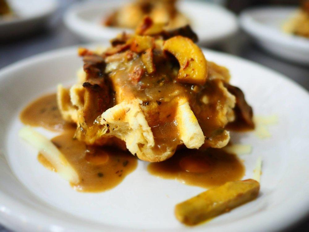 Wild mushroom rarebit on savory waffle. Photo provided by L'Etoile Du Nord.