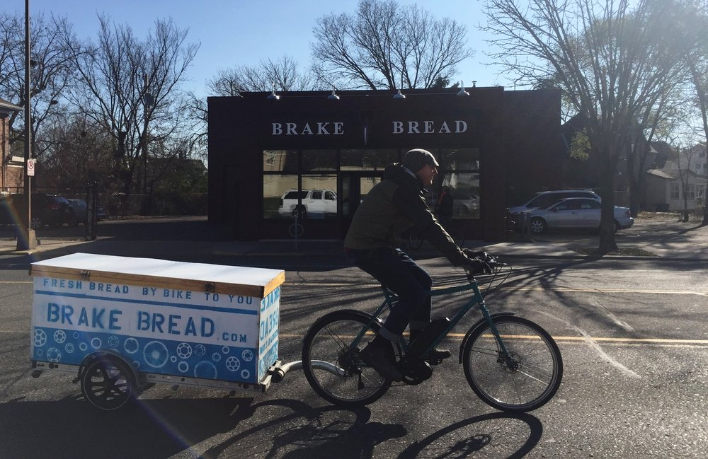 Brake Bread offers bread subscriptions to their lucky St. Paul neighbors (check their online map to see if you're one of them) and delivers their gorgeous, fresh-baked loaves by bicycle.