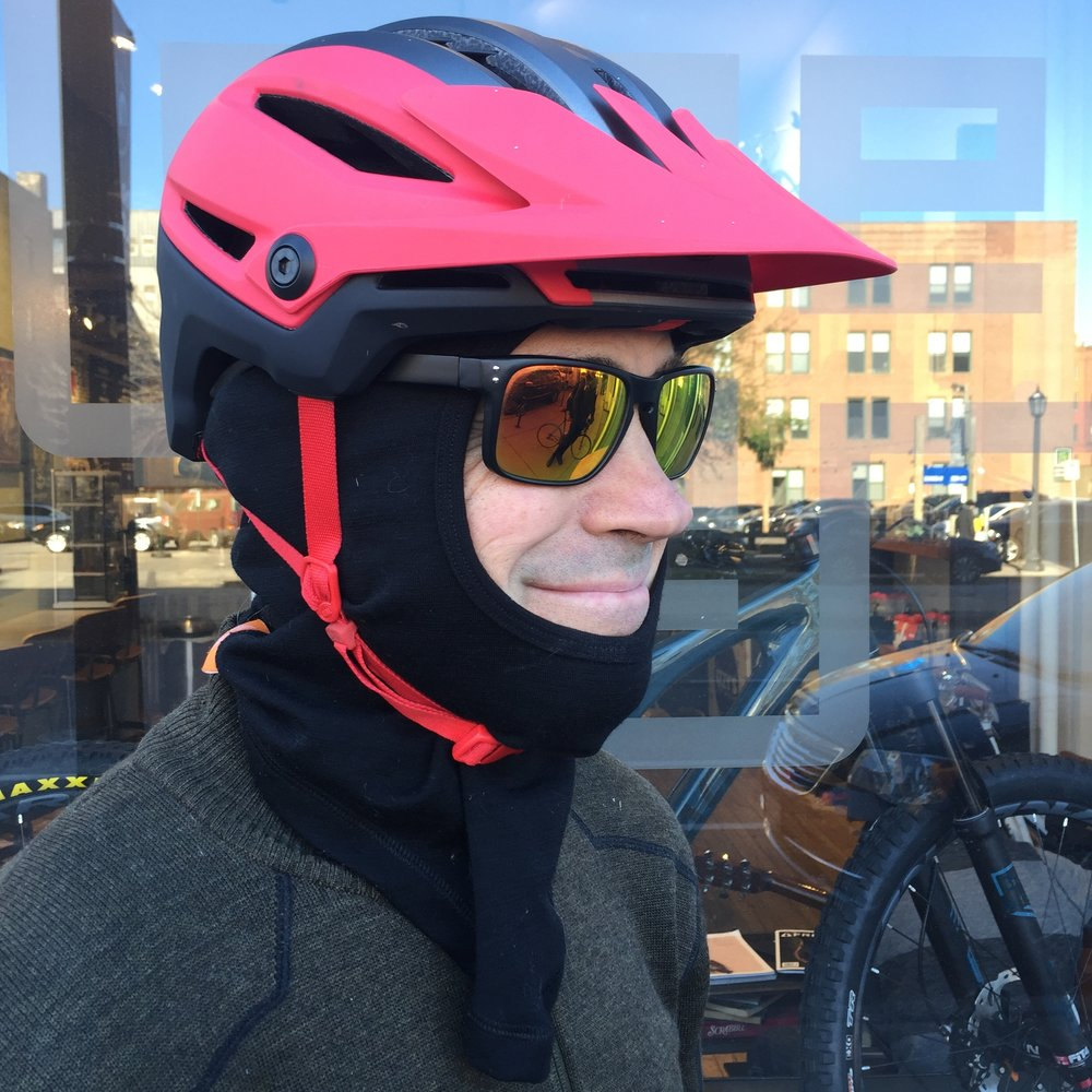 Just about any helmet will work for winter riding. Geno sports the new Bell Sixer MIPS equipped mountain bike helmet with a 45NRTH Toasterfork Balaclava.