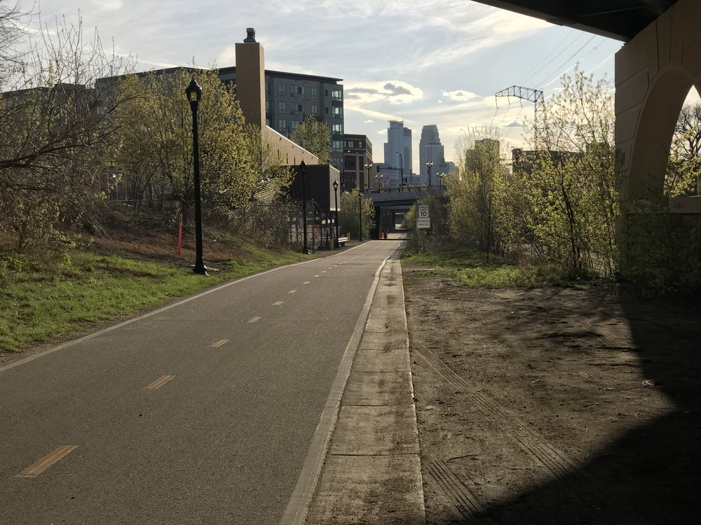A look toward downtown Minneapolis on the Dinkytown Greenway