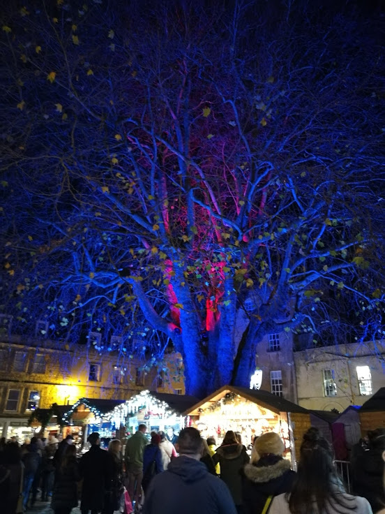 Bath Christmas Market... - coincidentally, my favourite tree in Bath is currently blue and red.