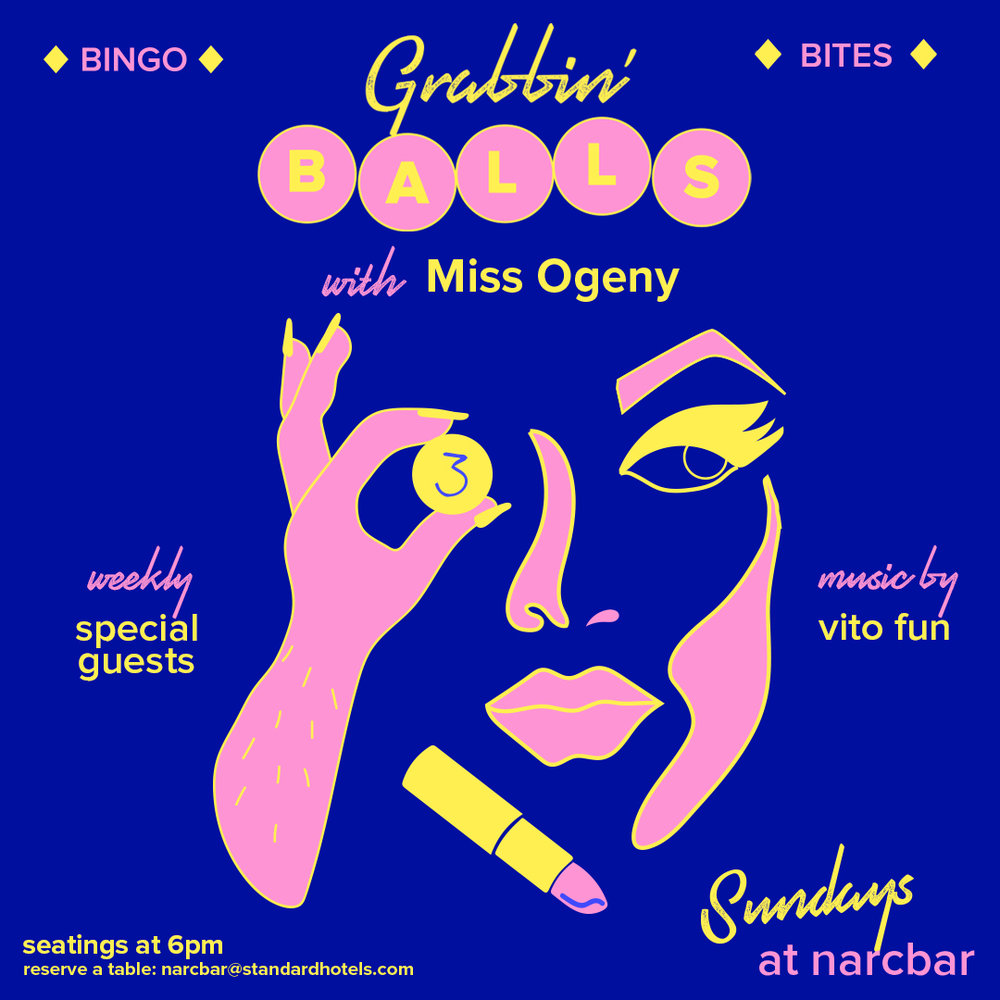 grabbin' balls drag bingo: - miss ogeny and special guest serve up shows, and 3 rounds of bingo for our weekly drag bingo partySeatings at 6pmwalk-ins welcomeReservations recommendedRSVp herenarcbar25 Cooper Square#notyourstandardbingo