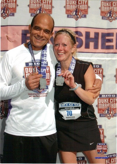 (Mourad and I post race – he had time to go take a shower and come back for me!)