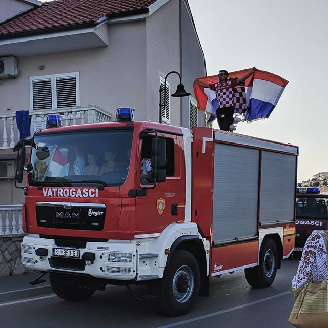 Even when Croatia loses the world cup, we celebrate 🎉 . . . #travel #travels #travelphotography #tisno #croatia #firetruck #celebrate #worldcup2018 #worldcup #sillypeople #shenanigans